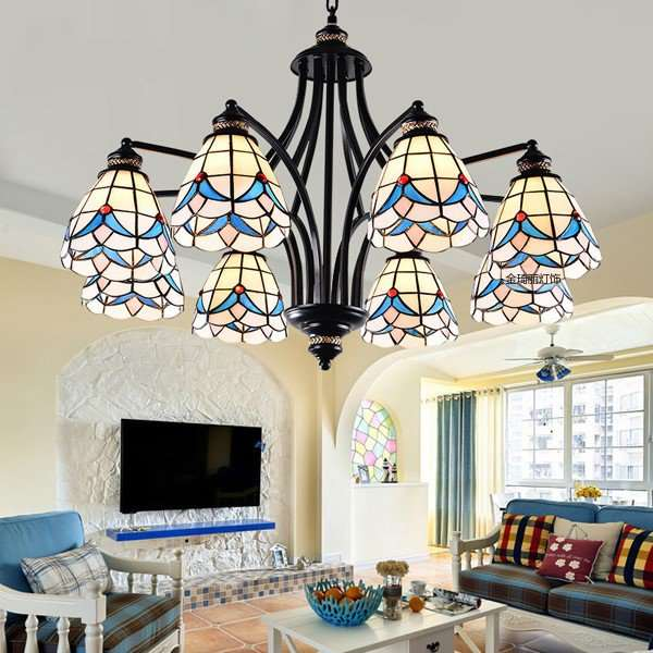 Iron Art,Glass,Zinc Alloy Living Room Mediterranean Chandelier,8 Lights