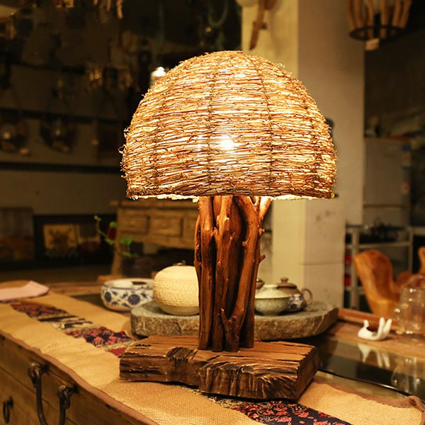 Wood Art,Rattan Art,Solid Wood Living Room,Study/ Bedroom,Villa/ Hand-woven Pastoral Table Lamp In The Hotel Lobby
