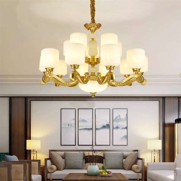 Glass,Copper,Marble Living Room Dyeing New Chinese Chandelier,15 Lights