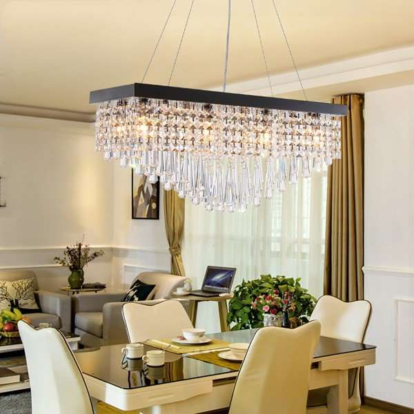 Crystal,Stainless Steel Restaurant Drawstring Hanging Post Modern Chandelier,8 Lights