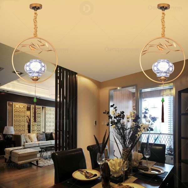 Iron Art,Ceramic Restaurant,Study/ Bedroom,Stairs/ Corner Spray Sanding New Chinese Chandelier,1 Lights