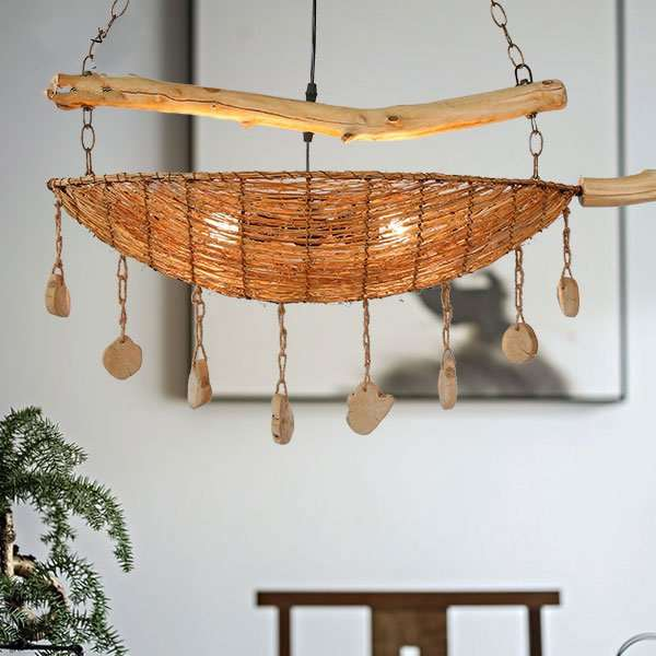 Rattan Art,Hemp Rope Living Room,Restaurant Hand Woven Pastoral Chandelier,2 Lights