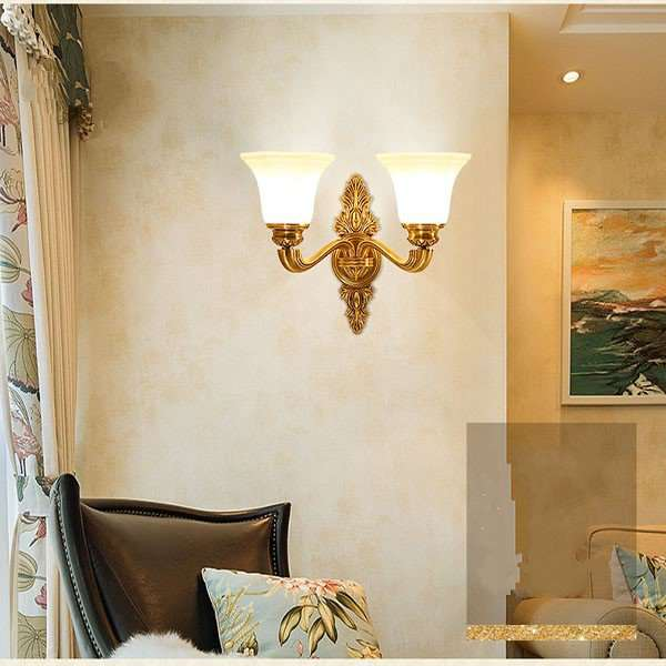 Glass,Zinc Alloy Living Room,Study/ Bedroom Electroplated European Wall Lamp, Double Head