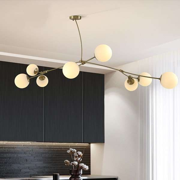 Copper,Glass Living Room,Restaurant,Villa/ Hotel Lobby Dyeing Post Modern Chandelier,8 Lights