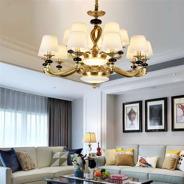 Glass,Copper,Stone Living Room,Villa/ Hotel Lobby Dyed European Chandelier,15 Lights