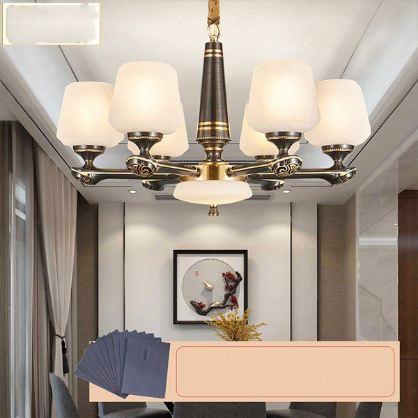 Glass,Jade,Copper Living Room,High Level/ Duplex,Stairs/ Corner,Study/ Bedroom,Restaurant,Villa/ The Hotel Lobby,Corridor/ Aisle/ Entrance,Cloakroom,Other Engraving New Chinese Chandelier,6 Lights