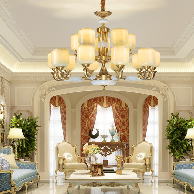 Glass,Copper,Jade Villa/ The Hotel Lobby,Living Room Stained European Chandelier,15 Lights
