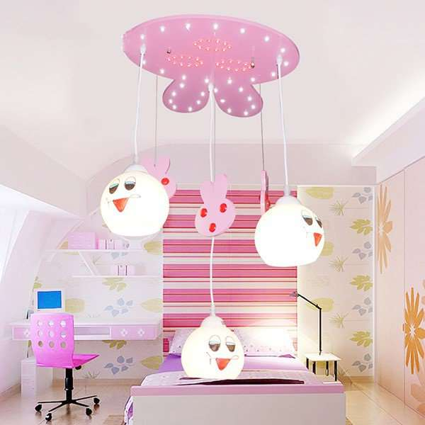 Glass,Wooden Children's Room Other/other Children/ Cartoon Chandelier,3 Lights