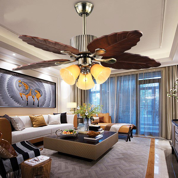 Iron Art,Wood Art,Glass Living Room,Study/ Bedroom,Restaurant European Fan Light,3 Lights