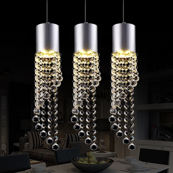 Iron Art,Crystal Kitchen,Restaurant Brushed Hanging Modern Minimalist Chandelier,3 Lights