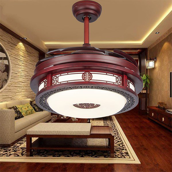 Wood Art,PC Restaurant,Living Room Electroplating Chinese Fan Light,1 Lights