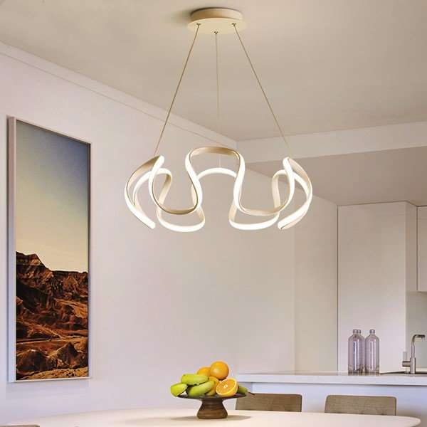 Aluminum,PC Restaurant Painted Matte Modern Minimalist Chandelier,1 Lights