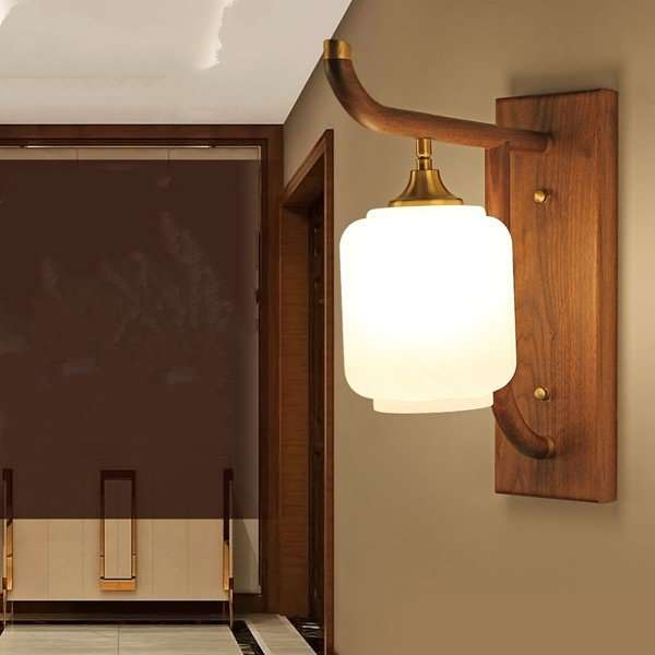 Wood Art,Copper,Glass,Solid Wood Study Room/ Bedroom,Villa/ Carved Chinese Wall Lamp In Hotel Lobby, Single Head