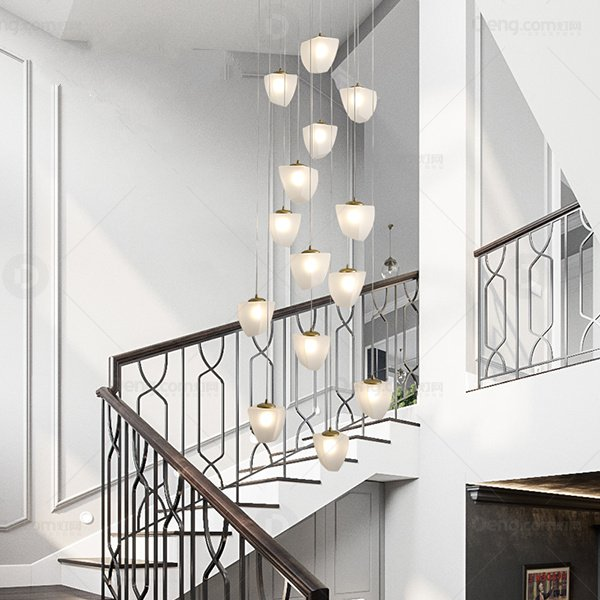 Iron Art,Glass Staircase/ Corner,Corridor/ Aisle/ Entrance,Villa/ Modern Chandelier After Painting And Sanding In Hotel Lobby,14 Lights