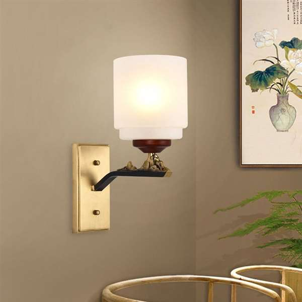 Copper,Wood Art,Glass Corridor/ Aisle/ Entrance,Living Room,Study/ Bedroom Dyeing New Chinese Wall Lamp, Single Head