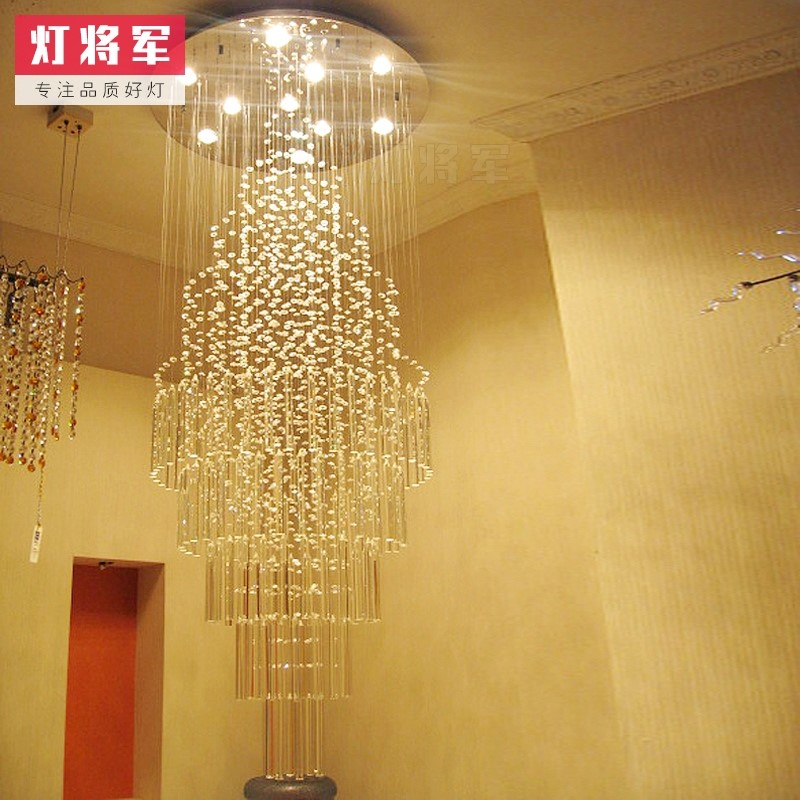 Crystal,Stainless Steel Staircase/ Corner,High Level/ Duplex Drawing Hanging Modern Minimalist Chandelier,15 Lights