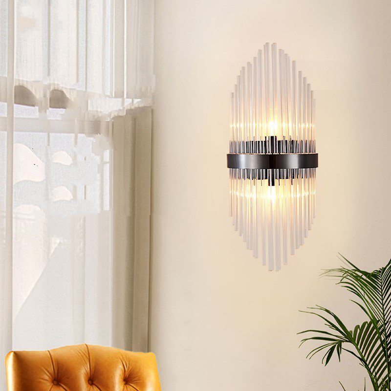 Glass,Stainless Steel Villa/ The Hotel Lobby,Stairs/ Corner,Living Room Plating Light Luxury Wall Lamp, Single Head