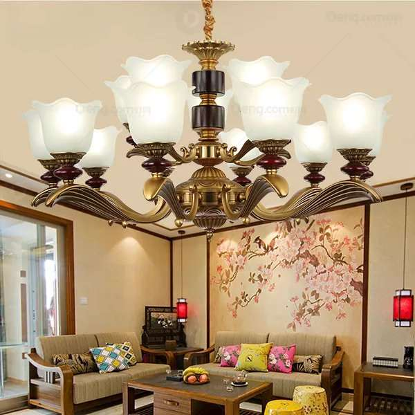 Glass,Zinc Alloy,Iron Art,Wooden High-rise/ Duplex,Villa/ The Hotel Lobby,Living Room Electroplating European Chandelier,15 Lights