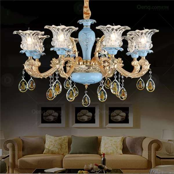 Glass,Crystal,Zinc Alloy,Ceramic Study Room/ Bedroom,Living Room Electroplating European Chandelier,8 Lights