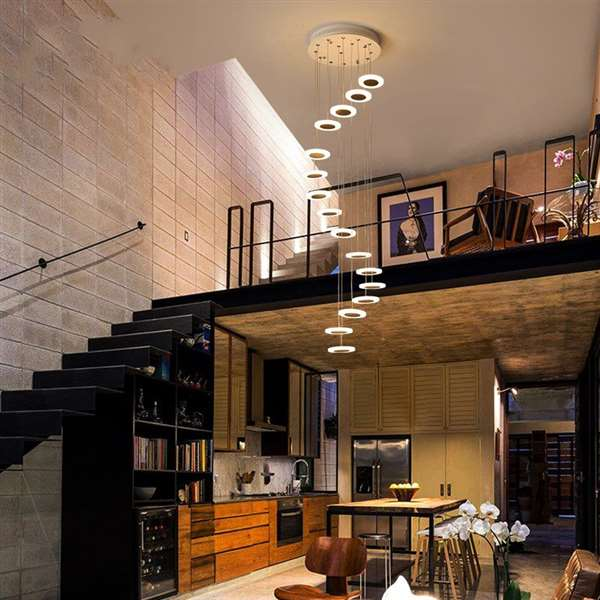 Iron Art,Acrylic Stairs/ Corner,High Level/ Compound Spray Paint Frosted Modern Simple Chandelier,16 Lights