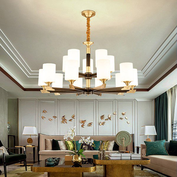 Glass,Copper Other,Restaurant,Forging New Chinese Chandelier In The Living Room,15 Lights