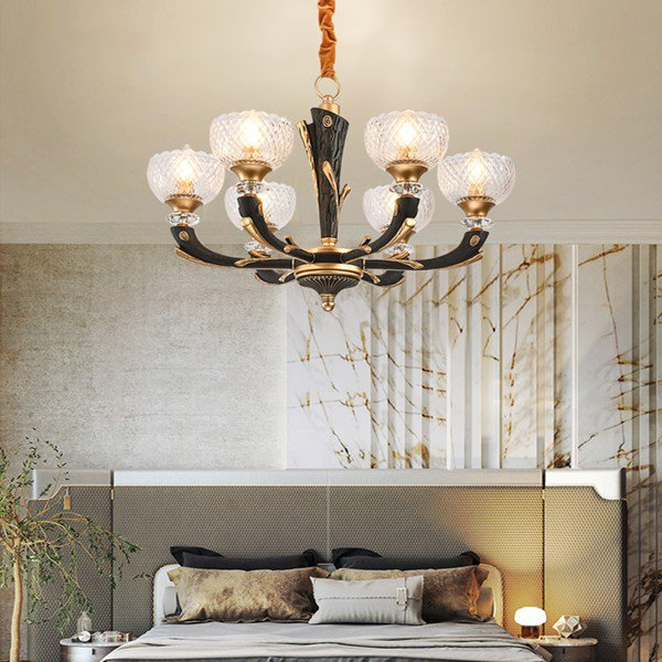 Glass,Crystal,Zinc Alloy Restaurant,Living Room,Study/ Bedroom Plating New Chinese Chandelier,6 Lights