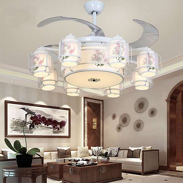Iron Art,Cloth Art,PC Living Room,Restaurant,Study/ Bedroom Electroplating Chinese Fan Light,8 Lights