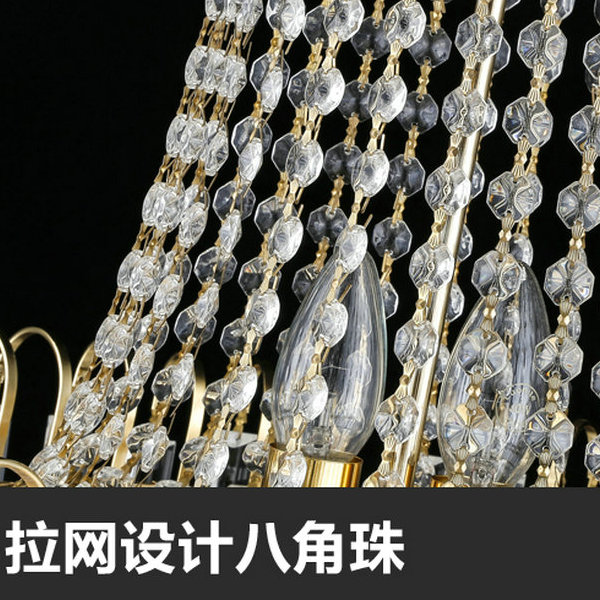Iron Art,Crystal Stairs/ Corner,High Level/ Compound Electroplating European Chandelier,11 Lights