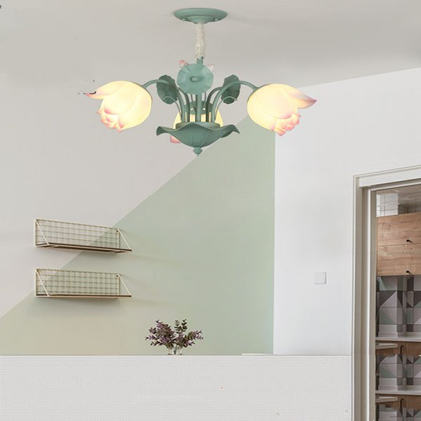 Iron Art,Resin Restaurant,Children's Room Painted Frosted Pastoral Chandelier,3 Lights