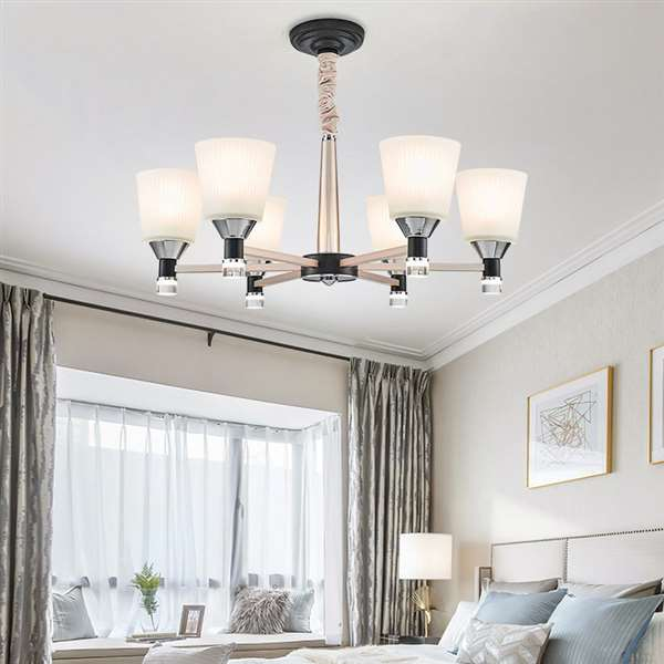Aluminum,Glass Restaurant,Living Room,Study/ Bedroom Dyeing Modern Simple Chandelier,6 Lights