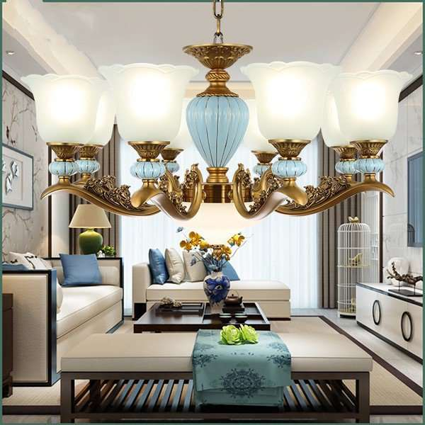 Glass,Zinc Alloy,Ceramics,Iron Art Restaurant,Study/ Bedroom,Living Room Electroplating European Chandelier,8 Lights
