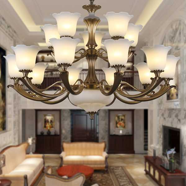 Glass,Copper,Marble Villa/ The Hotel Lobby,High Level/ Compound Dyeing European Chandelier,15 Lights