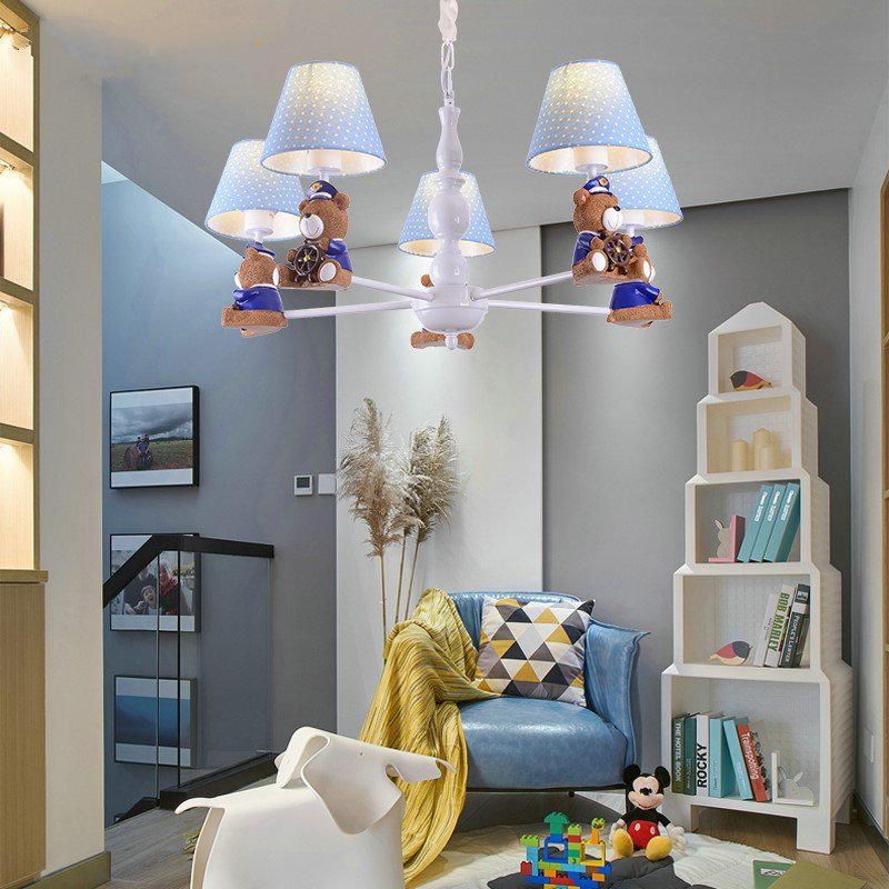 Iron Art,Resin,Cloth Children's Room,Study/ Bedroom Spray Paint Frosted Modern Minimalist Chandelier,5 Lights