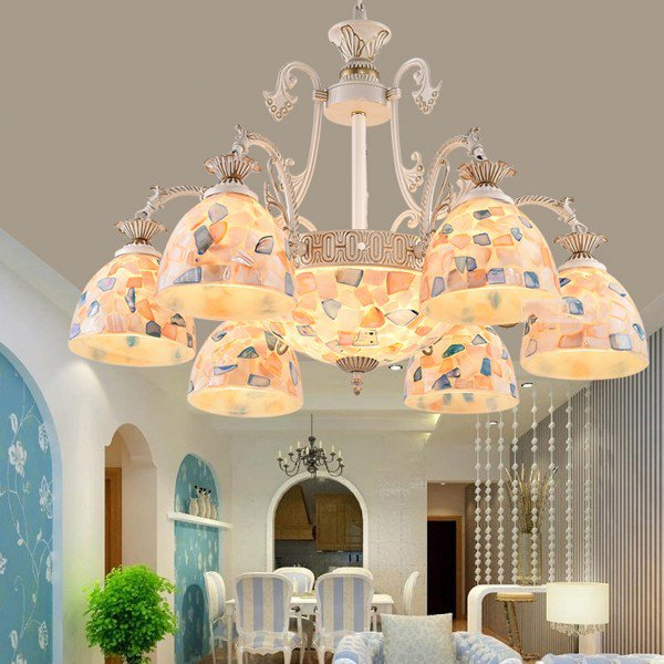Iron Art,Glass,Zinc Alloy,Seashell Living Room Mediterranean Chandelier,9 Lights