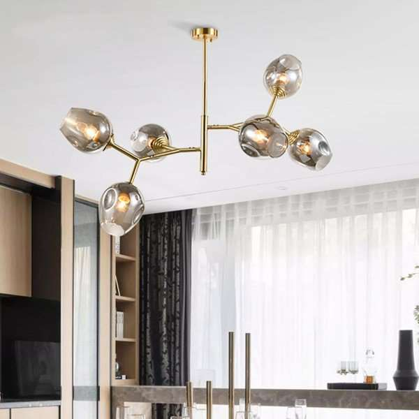 Copper,Glass Cloakroom,Study/ Bedroom,Restaurant Dyed Modern Minimalist Chandelier,6 Lights