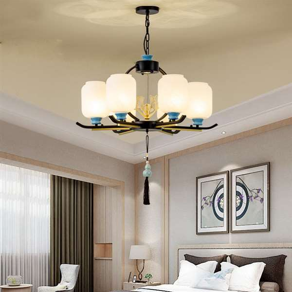 Glass,Iron Art,Ceramic Restaurant,Study/ Bedroom,Cloakroom Spray Paint Frosted New Chinese Chandelier,6 Lights
