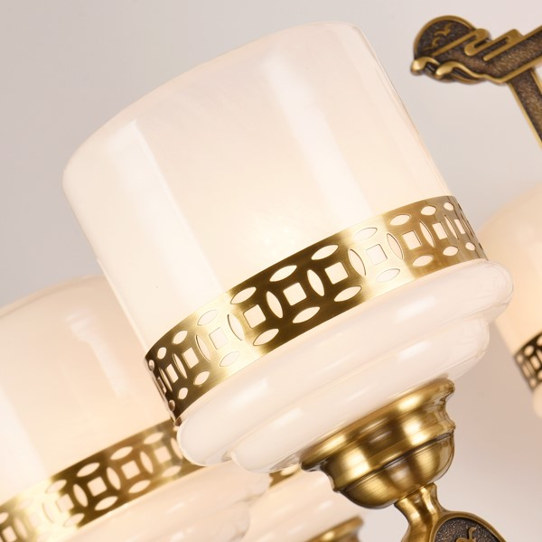 Glass,Copper,Jade Living Room,Study/ Bedroom,Restaurant Dyed New Chinese Chandelier,6 Lights