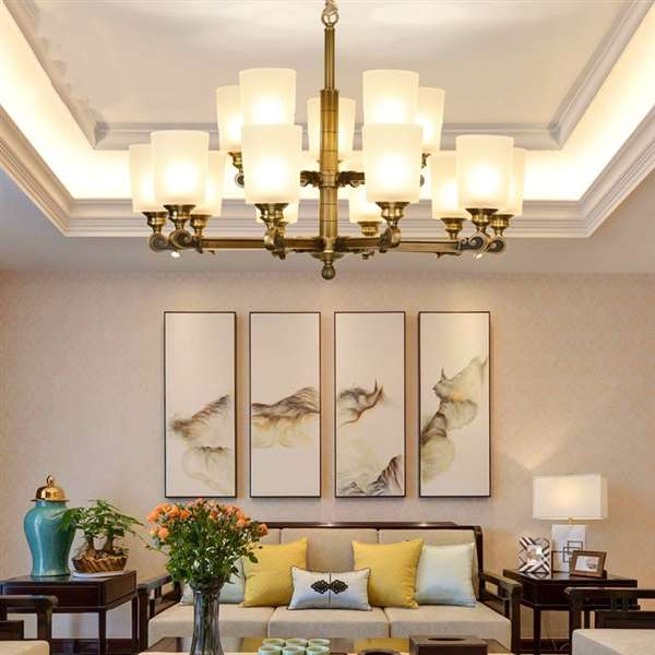 Glass,Copper Living Room,Villa/ New Chinese Chandelier For Hotel Lobby Dyeing,15 Lights