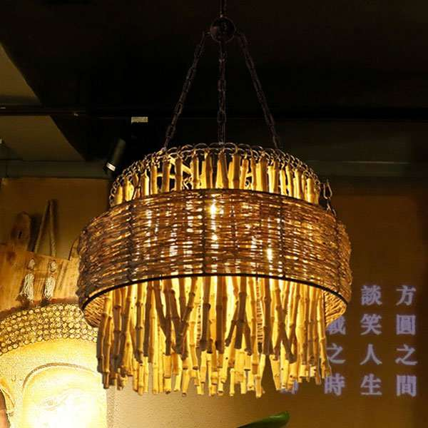 Rattan Art,Bamboo Art,Wooden Living Room,Study/ Bedroom,Restaurant Hand Woven Pastoral Chandelier,7 Lights
