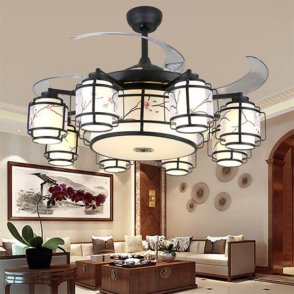 Iron Art,Crystal,Copper Living Room,Restaurant Plated New Chinese Fan Light,8 Lights