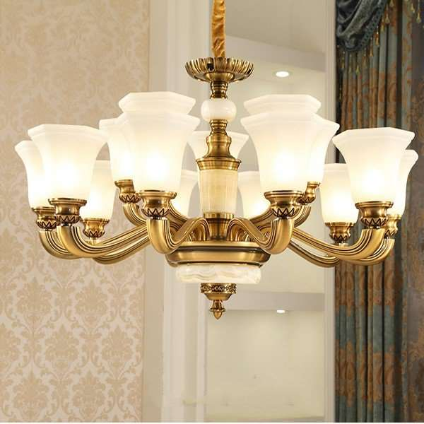 Zinc Alloy,Jade,Glass Study Room/ Bedroom,Living Room Electroplating European Chandelier,15 Lights