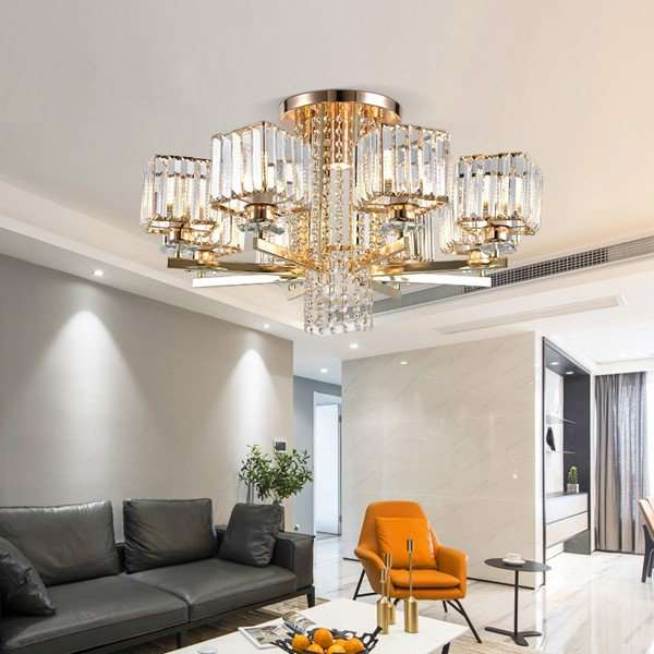 Iron Art,Crystal Study Room/ Bedroom,Living Room Electroplating Light Luxury Chandelier,6 Lights
