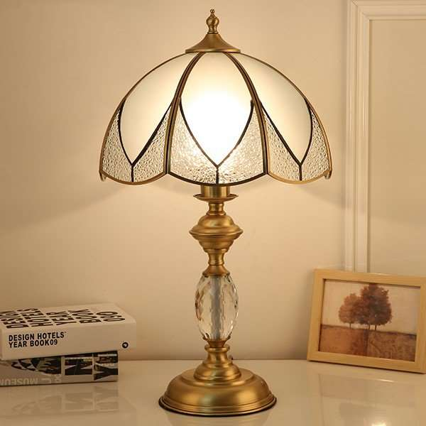 Glass,Copper Study Room/ Bedroom Solder American Country Table Lamp