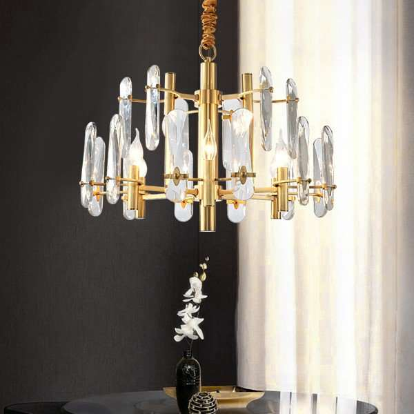 Crystal,Copper Study Room/ Bedroom,Restaurant,Children's Room Painted Frosted Post Modern Chandelier,9 Lights