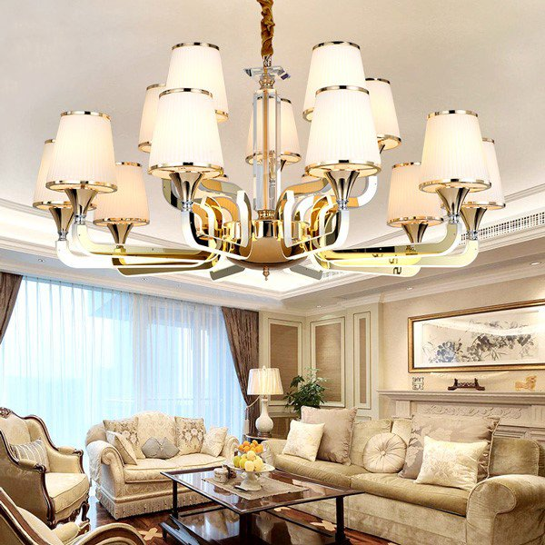 Acrylic,Stainless Steel Living Room Electric Punching Rear Modern Chandelier,15 Lights