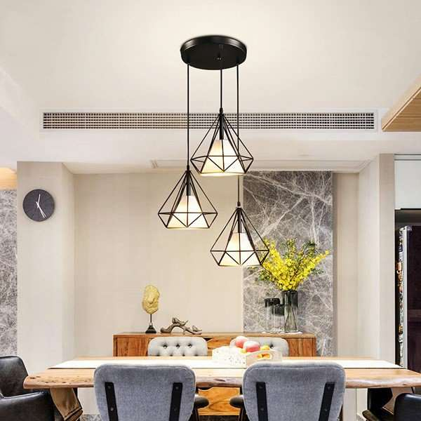 Iron Art,Cloth Restaurant Spray Paint Scrub Northern Europe\ IKEA Chandelier,3 Lights