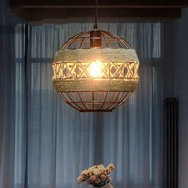 Iron Art,Hemp Rope Restaurant,Corridor/ Aisle/ Porch Spray Paint Frosted Industrial Wind Chandelier,1 Lights