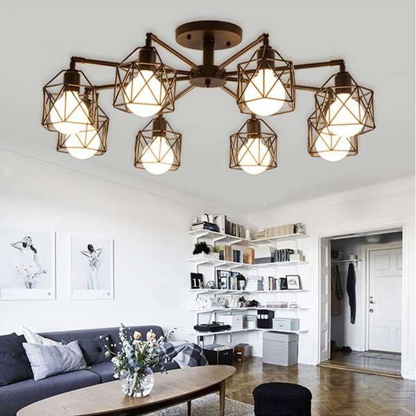 Iron Living Room,Chess Room/ Mahjong Painted Scrub Nordic\ IKEA Chandelier,8 Lights