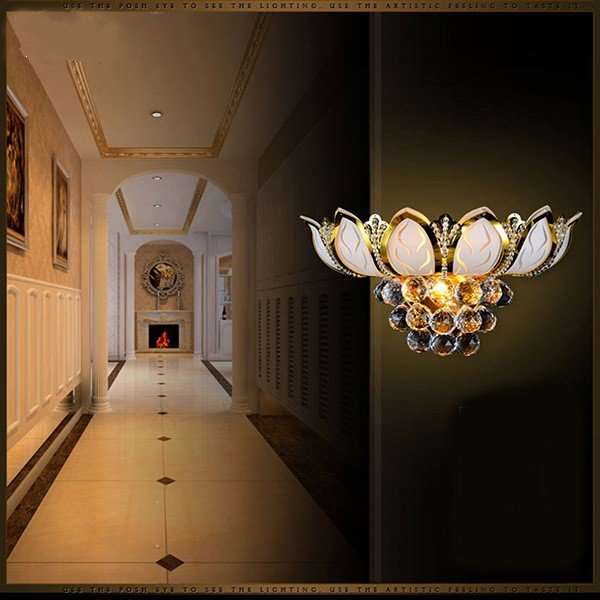 Iron Art,Glass,Crystal Corridor/ Aisle/ Entrance,Study/ Bedroom Plating Modern Minimalist Wall Lamp, Three Heads And Above