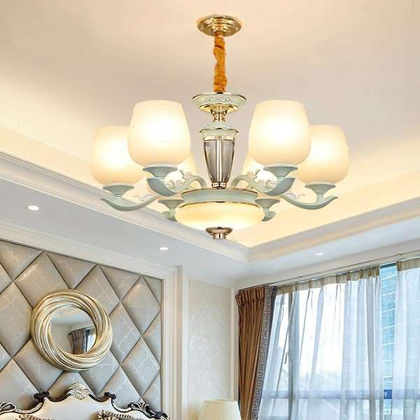 Glass,Crystal,Zinc Alloy Balcony,Study/ Bedroom,Spray Painting And Frosting European Chandelier In Dining Room,6 Lights